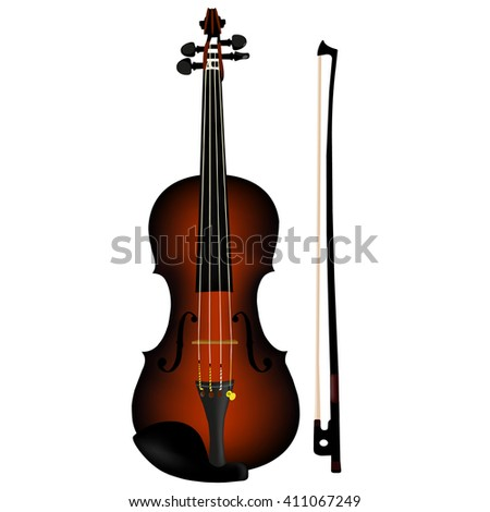 vector brown violin and bow