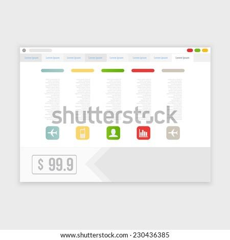 Vector browser design with responsive website template - stock vector