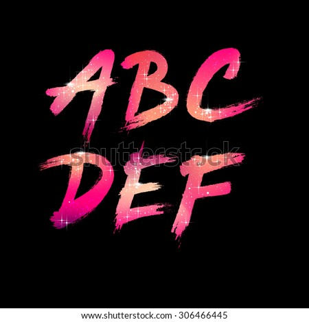 Vector Brush Stroke Font from A to F - stock vector