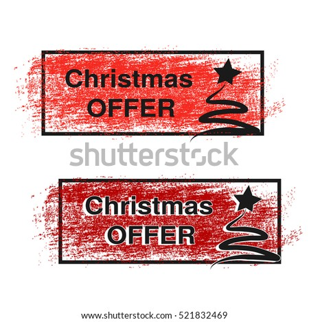 Vector brush stroke, labels with black symbols of Christmas tree, stickers for Christmas offer. Red, dark red stratched spot.