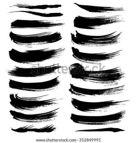 Vector brush strokes textured thick black paint set isolated on a white background
