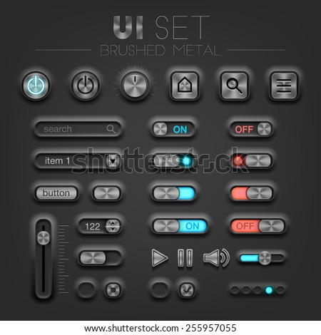 Vector brushed metal dark UI set. High quality design elements
