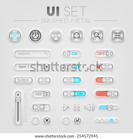 Vector brushed metal UI set. High quality design elements - stock vector