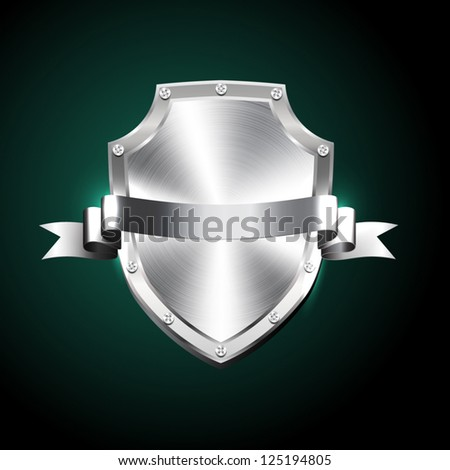Vector brushed silver steel shiny shield with silver ribbon - stock vector