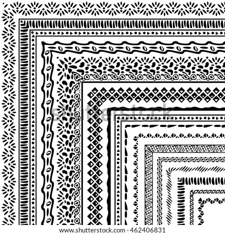 Vector brushes collection in boho style. African style ornament borders for patterns, mandalas and frames. Pattern brushes with corners are included in swatch panel.