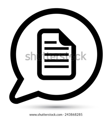 Vector bubble with document icon - stock vector