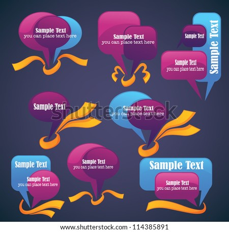 vector bubbles for speech with glossy ribbons  on dark background - stock vector