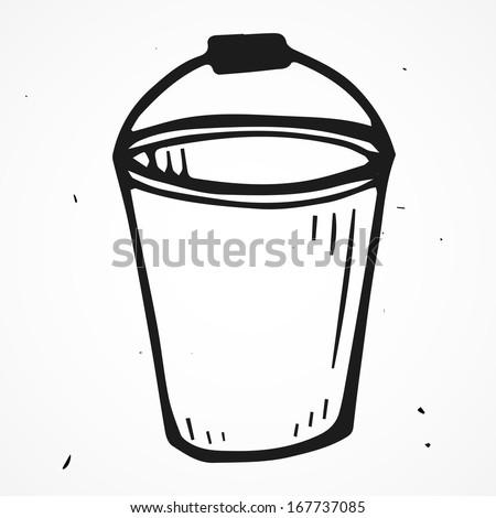 Vector bucket hand drawn - stock vector