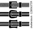 vector buckle braided belt black symbols - stock vector