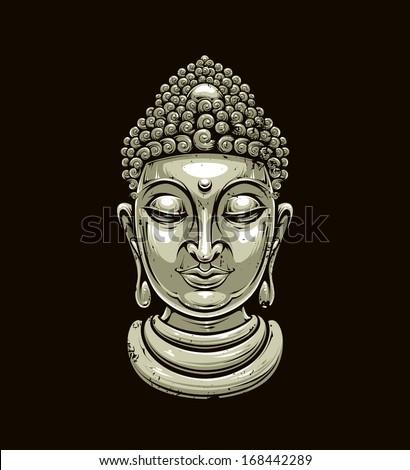 Vector buddha head isolated on dark. Grunge style buddha illustration. Vector EPS 10 illustration.  - stock vector