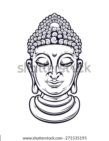 Vector buddha head isolated on white. Vector illustration. - stock vector