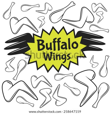 Vector Buffalo Wings Emblem with Chicken Legs and Wings. - stock vector