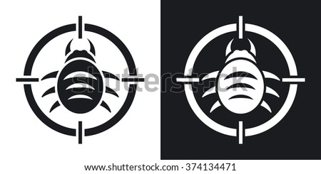 Vector bug target icon. Two-tone version on black and white background - stock vector