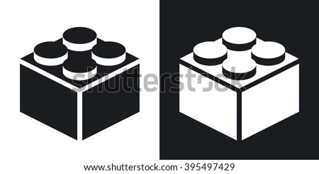 Vector building block icon. Two-tone version on black and white background - stock vector
