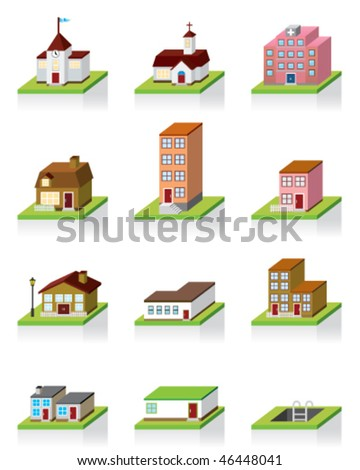 Vector Building Icon -- 3D Illustration - stock vector
