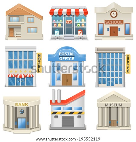 Vector Building Icons - stock vector