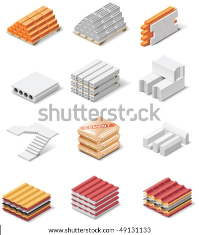 Vector building products icons. Part 1. Concrete elements - stock vector
