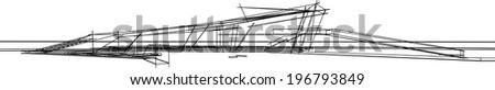 vector building sketch - stock vector