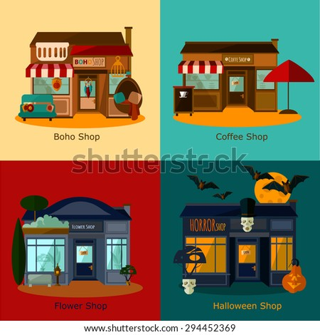 vector buildings concept flat set (four small compositions of different shops ideal for your design) - stock vector