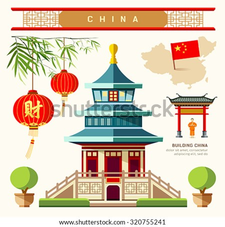 Vector Buildings of China style collections design background, illustrations - stock vector