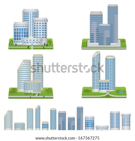 Vector Buildings Set - stock vector