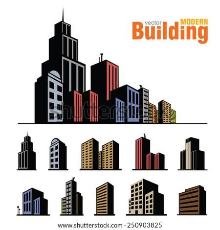 Vector buildings set - stock vector