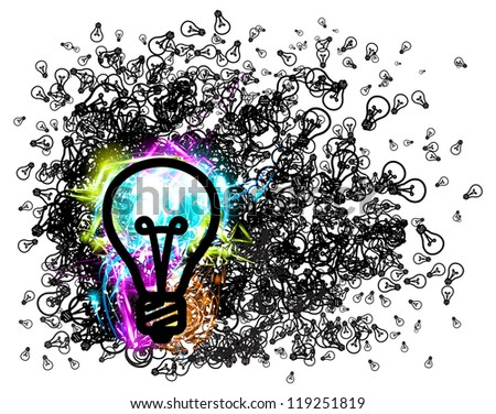 Vector bulb background with shine effects. - stock vector