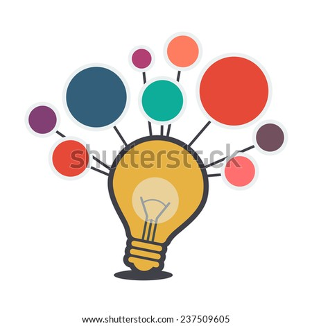 vector bulb symbol, brain thinking creative idea concept - stock vector
