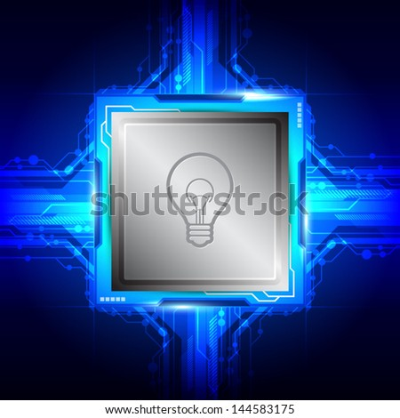 vector bulb symbol on computer processor, electric technology - stock vector