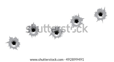 Vector bullet holes. Bullet holes on white background. Isolated assorted bullet holes. T-shirt print template.