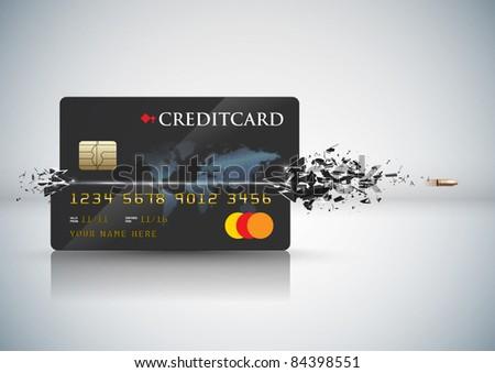 Vector Bullet Sends a Shot Through a Credit Card - stock vector