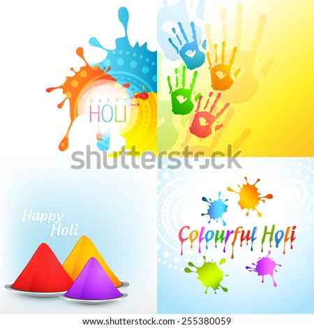 vector bunch of holi background with colorful gulal - stock vector