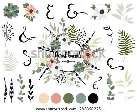 Vector bundle with summer tropical flowers. Vector illustration. Vintage collection with flowers. - stock vector