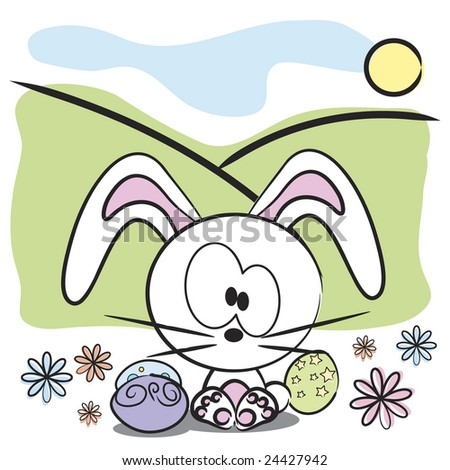 Vector bunny with Easter eggs and spring flowers - stock vector