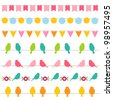 Vector bunting and birds borders collection. Pattern brushes added to EPS file - stock vector