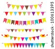 Vector bunting and garland set - stock vector