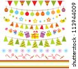 Vector bunting and garland set - stock photo