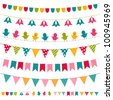 Vector bunting and garland set. Used pattern brushes included - stock vector