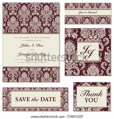 Vector Burgundy Damask Frame Set. Easy to edit. Seamless pattern ins included as swatch. Perfect for invitations or announcements. - stock vector