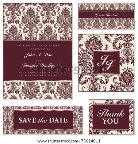 Vector Burgundy Floral Frame Set. Easy to edit. Perfect for invitations or announcements. - stock vector
