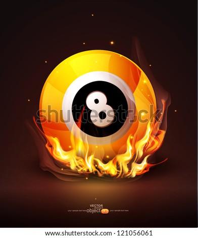 Vector burning billiard ball on a dark background - stock vector