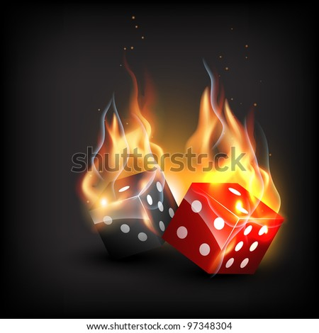vector burning dice on dark background - stock vector