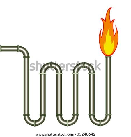 vector burning pipe - stock vector