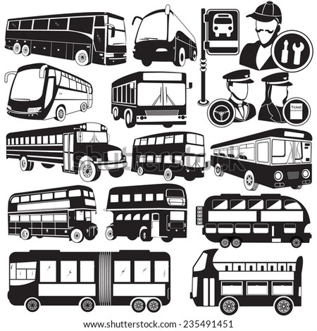 Vector bus icons - stock vector