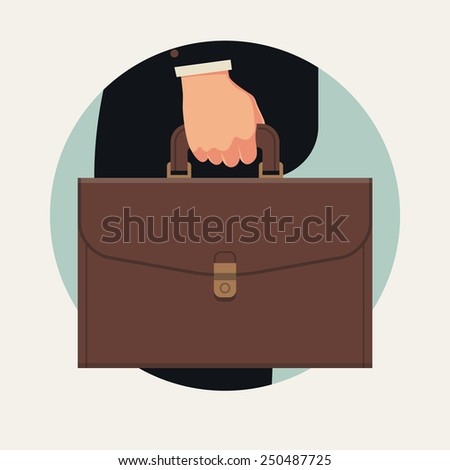 Vector business abstract circle icon on black suited businessman's hand holding briefcase, side view, isolated, flat design - stock vector