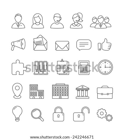Vector Business and Communication outline icon set - stock vector