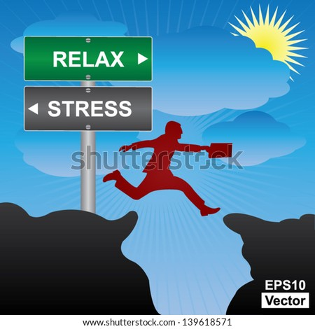 Vector : Business and Finance Concept Present By Jumping Through The Valley Gap With Green and Gray Street Sign Pointing to Relax and Stress in Blue Sky Background - stock vector