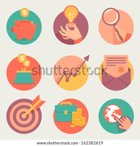 Vector business and finance icons and sign in flat style - stock vector
