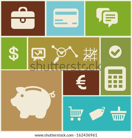 Vector business and finance icons and signs in flat style - stock vector