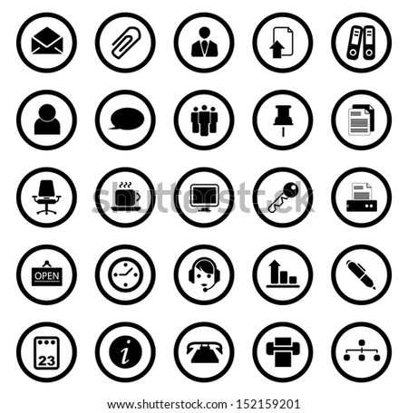 Vector business and office icons. - stock vector